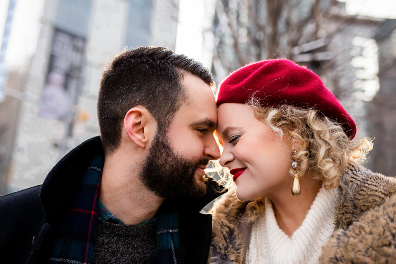 New York City actress Amanda Jane Cooper poses with her fiancé Andrew Bell during their NYC engagement session with dreamy photographer ALN IMAGES