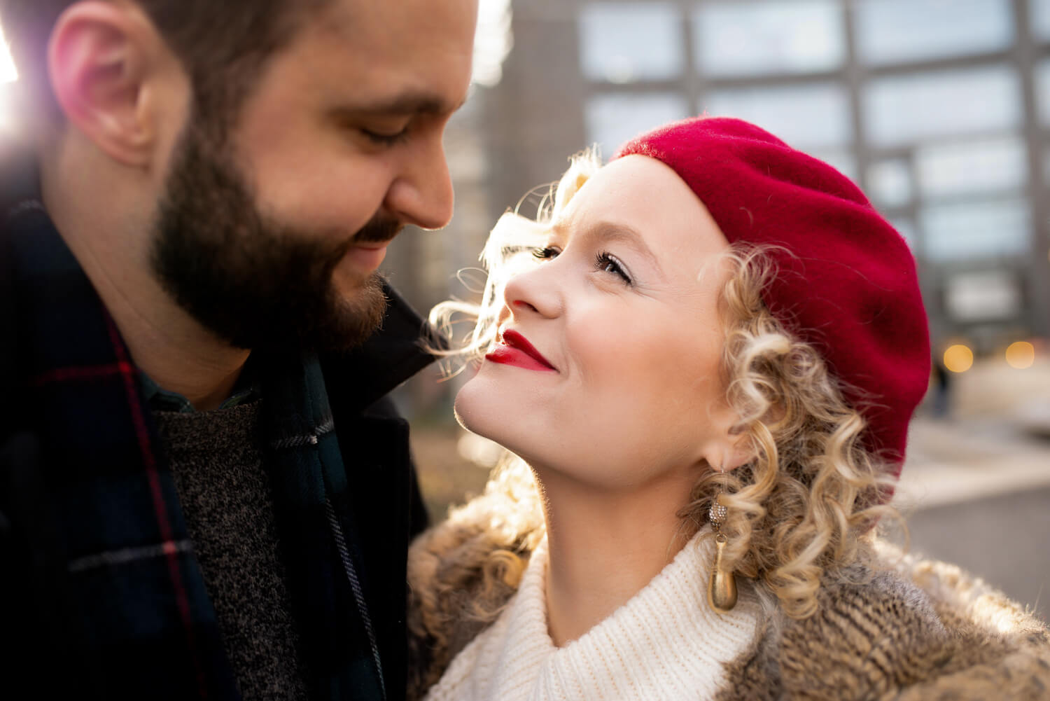 New York City actress Amanda Jane Cooper poses with her fiancé Andrew Bell during their NYC engagement session with dreamy photographer ALN IMAGES. Best New York City Wedding and engagement Photographer.