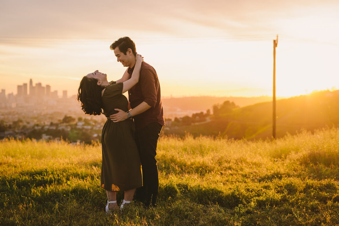LA Los Angeles engagement shoot sunset outside travel engagement photographer