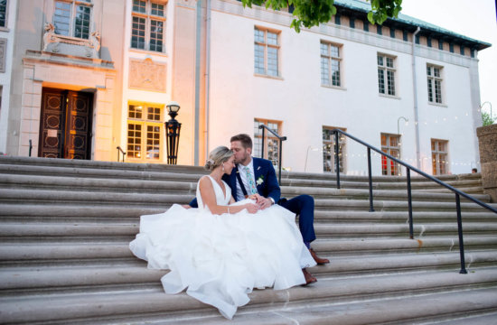 ALN Images photo of bride and groom at sunset at the American Swedish historical museum in Philadelphia. JSM Catering.