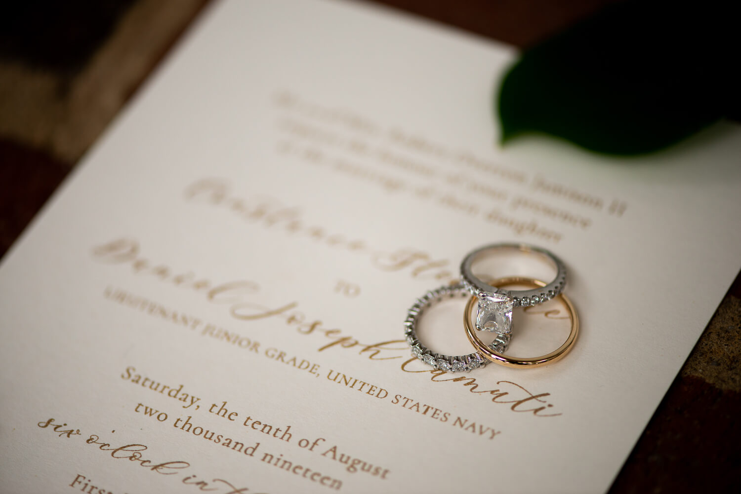 Wedding travel photography rings and announcement